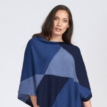 Intarsia Supersoft Merino Poncho in Blue